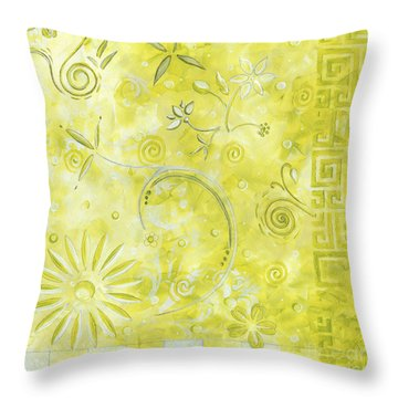 Coastal Decorative Citron Green Floral Greek Checkers Pattern Art Green Whimsy By Madart Throw Pillow by Megan Duncanson