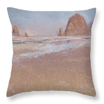 Coastal Escape  Cannon Beach Oregon And Haystack Rock  Throw Pillow