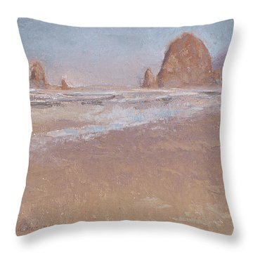 Coastal Escape  Cannon Beach Oregon And Haystack Rock  Throw Pillow