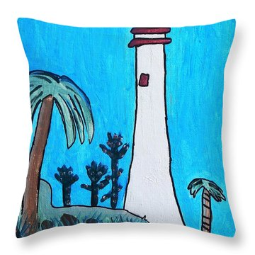 Throw Pillow featuring the painting Coastal Lighthouse by Artists With Autism Inc