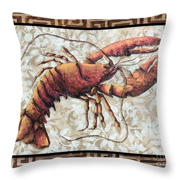 Coastal Lobster Decorative Painting Greek Border Design By Madart Studios Throw Pillow by Megan Duncanson