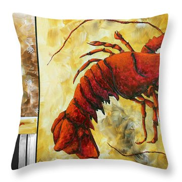 Coastal Lobster Decorative Painting Original Art Coastal Luxe Lobster By Madart Throw Pillow by Megan Duncanson