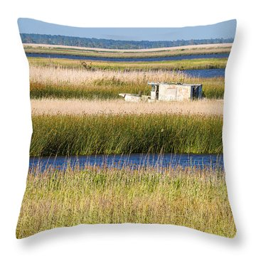Coastal Marshlands With Old Fishing Boat Throw Pillow by Bill Swindaman