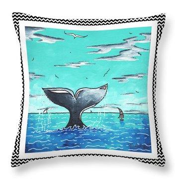 Coastal Nautical Decorative Art Original Painting Whale Tail Chevron Pattern Sea Farer By Madart Throw Pillow by Megan Duncanson
