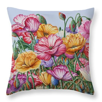 Throw Pillow featuring the painting Coastal Poppies by Jane Girardot