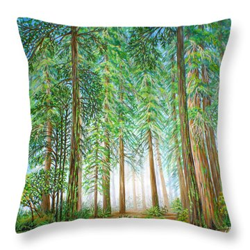 Coastal Redwoods Throw Pillow