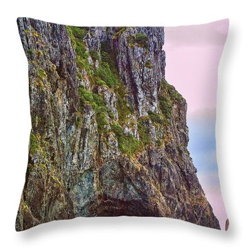 Coastal Rock Open Arch Throw Pillow by Linda Phelps