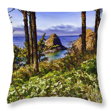 Coastal Rocks-d Throw Pillow