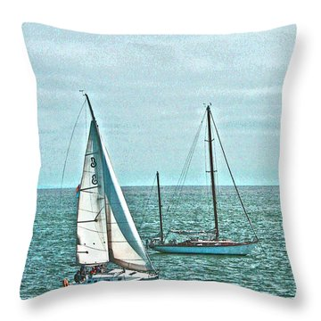 Coastal Sail Boats Throw Pillow