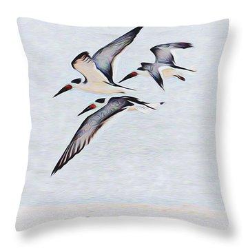 Coastal Skimmers Throw Pillow