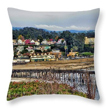 California Coastal Town Throw Pillow