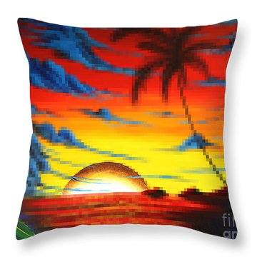 Coastal Tropical Abstract Colorful Pixel Art Digital Painting Compilation Tropical Bliss By Madart Throw Pillow by Megan Duncanson