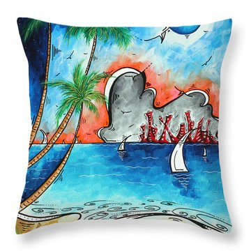 Coastal Tropical Beach Art Contemporary Painting Whimsical Design Tropical Vacation By Madart Throw Pillow by Megan Duncanson