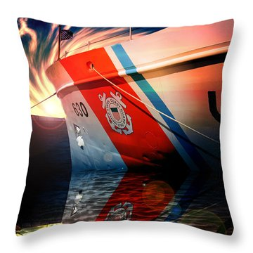 Throw Pillow featuring the photograph Coast Guard Uscg Alert Wmec-630 by Aaron Berg