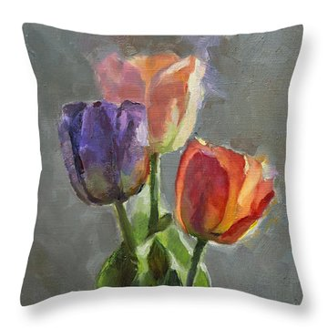 Cobalt And Tulips Still Life Painting Throw Pillow