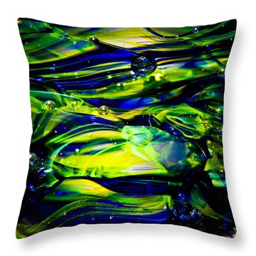Cobalt Blue And Yellow Glass Macro Abstact Throw Pillow by David Patterson