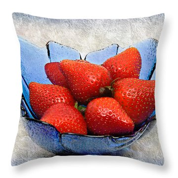 Cobalt Blue Berry Boat Throw Pillow by Andee Design