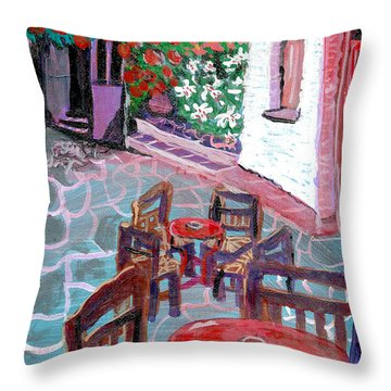 Throw Pillow featuring the painting Cobble Stone Street  By Janelle Dey by Janelle Dey