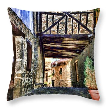Cobble Streets Of Potes Spain By Diana Sainz Throw Pillow
