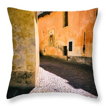 Throw Pillow featuring the photograph Cobbled Street by Silvia Ganora