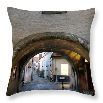 Cobblestone And Arcade Throw Pillow by Ladi  Kirn