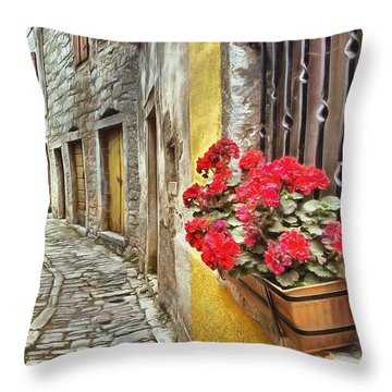 Cobblestone Streets Of Bale Throw Pillow
