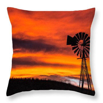 Cobblestone Windmill At Sunset Throw Pillow