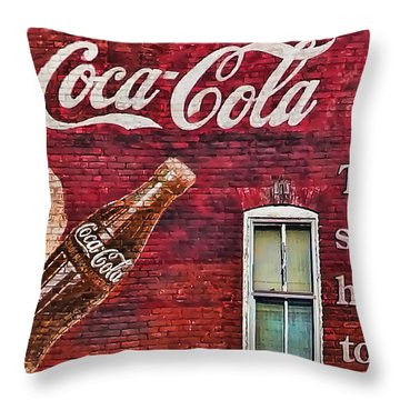 Throw Pillow featuring the photograph Coca Cola by B Wayne Mullins