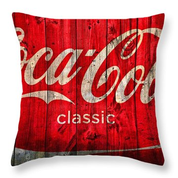 Coca Cola Barn Throw Pillow
