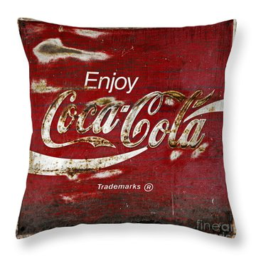 Coca Cola Red Grunge Sign Throw Pillow by John Stephens