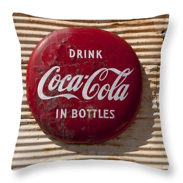 Coca Cola Sign   #0636 Throw Pillow by J L Woody Wooden