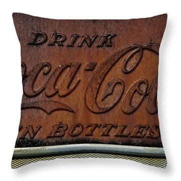 Coca-cola Sign Throw Pillow by Andy Crawford