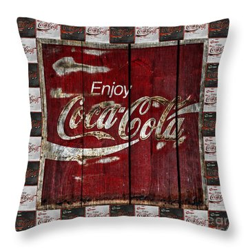 Coca Cola Sign With Little Cokes Border Throw Pillow
