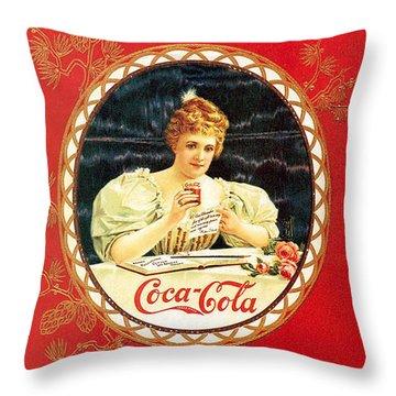 Coca - Cola Vintage Poster Calendar Throw Pillow