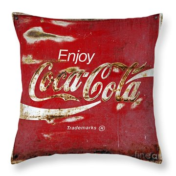 Coca Cola Vintage Rusty Sign Throw Pillow