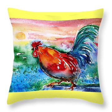 Throw Pillow featuring the painting Cock A Doodle Doo  by Trudi Doyle