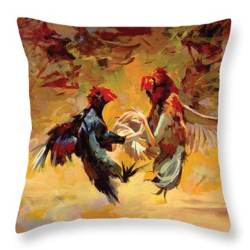 Cock Fight Throw Pillow