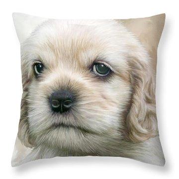 Cocker Pup Portrait Throw Pillow by Carol Cavalaris
