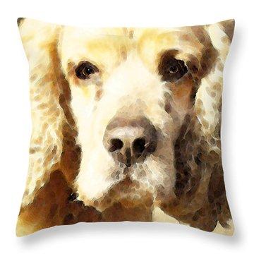 Cocker Spaniel Art - Mellow Yellow Throw Pillow by Sharon Cummings