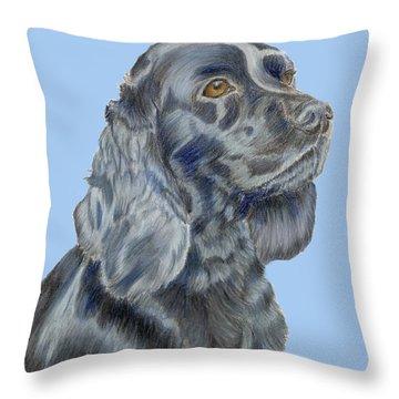 Cocker Spaniel Blue Throw Pillow