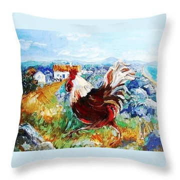 Throw Pillow featuring the painting Cockerel By The Beach  by Trudi Doyle