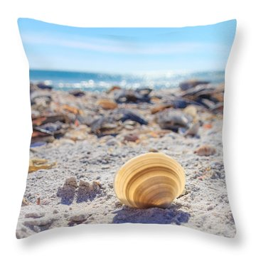 Cockle Shell Summer At Sanibel Throw Pillow by Peta Thames