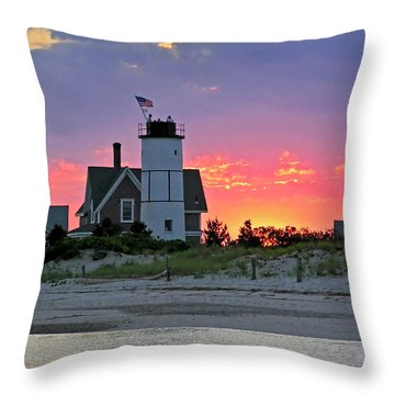 Cocktail Hour At Sandy Neck Lighthouse Throw Pillow