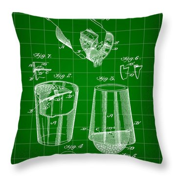 Cocktail Mixer And Strainer Patent 1902 - Green Throw Pillow