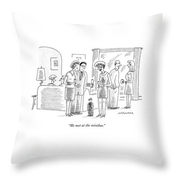 Cocktail Party Attended By Normal Sized Couples Throw Pillow