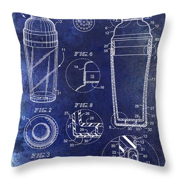 Cocktail Shaker Patent Drawing Blue Throw Pillow