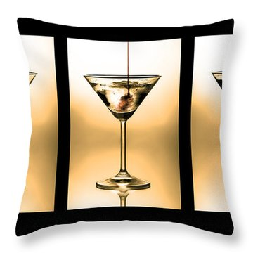 Cocktail Triptych In Gold Throw Pillow
