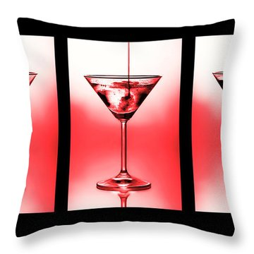 Cocktail Triptych In Red Throw Pillow by Jane Rix