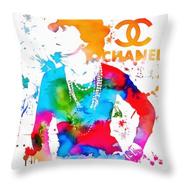 Coco Chanel Paint Splatter Throw Pillow