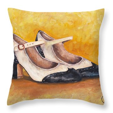 Pair Of 1920s Flappers Heels Mary Janes Throw Pillow